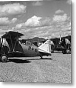 Navy Biplanes 19411945 Black White 1940s Airport Metal Print