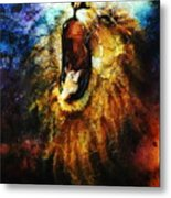 Painting Of A Mighty Roaring Lion Emerging From An Abstract Desert Pattern Pc Collage Metal Print