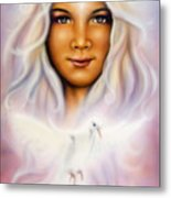 Painting Of A Young Girls Angelic Face With Radiant White Hair And A Shining Dove Metal Print