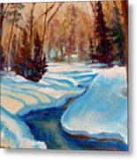 Peaceful Winding Stream Metal Print