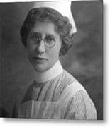 Portrait Headshot Nurse 1922 Black White 1920s Metal Print