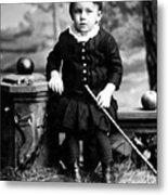 Portrait Headshot Toddler Walking Stick 1880s Metal Print