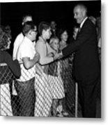 President Lyndon Johnson Shaking Childrens Hands Metal Print