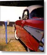 Red Chevy At The Drive-in Metal Print by Robert Ponzoni