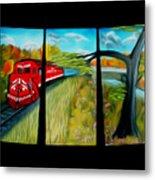 Red Train Passage Dreamy Mirage Metal Print