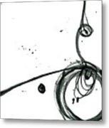 Revolving Life Collection - Modern Abstract Black Ink Artwork Metal Print