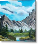 Rocky Mountain Tranquil Escape Dreamy Mirage Metal Print
