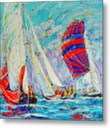 Sail Of Amsterdam II - Tree Sailboats  Metal Print