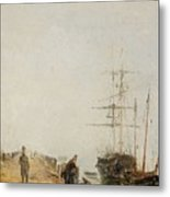 Sailing Ships By A Jetty Metal Print