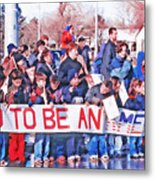 School Children Holding Sign - Olympic Torch Passing Metal Print by Steve Ohlsen