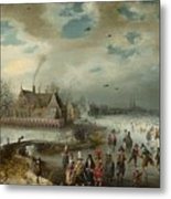Skating On The Frozen Amstel River  Metal Print