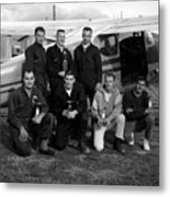 Skydiving Team Posing Airplane Circa 1960 Black Metal Print