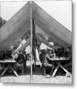 Soldiers Eating In Mess Tent 19061909 Black Metal Print