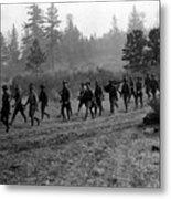 Soldiers Maneuvers Circa 1908 Black White 1900s Metal Print