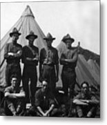 Soldiers Posing In Front Tents 19171918 Black Metal Print