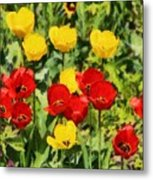 Spring Landscape With Tulips Metal Print