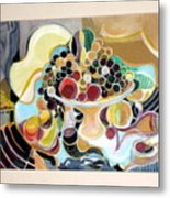 Still Life With Fish And Fresh  Fruits Metal Print by Therese AbouNader