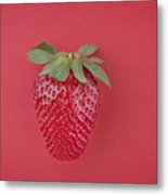 Strawberry In Red I Metal Print