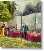 Tables At An Exhibition Metal Print