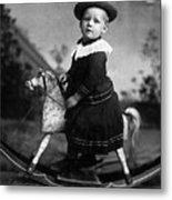 Toddler Rocking Horse 1890s Black White Archive Metal Print