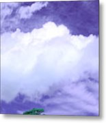 Tree Clouds Hill Metal Print