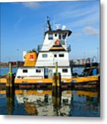 Tug Indian River Is Part Of The Scene At Port Canvaeral Florida Metal Print