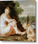 Venus And Cupid Warming Themselves  Metal Print