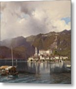 View Of Isola San Giulio In Lake Orta Metal Print