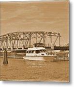 Vintage Swing Bridge In Sepia 2 Metal Print