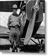 W Soldier Standing Biplane July 1923 Black White Metal Print