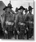 W Soldiers Standing Attention 19171918 Black Metal Print