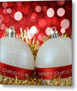 White Christmas Baubles With Merry Christmas Sign  Metal Print
