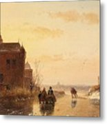Winter Landscape With A Fort Metal Print