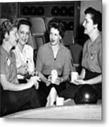 Woman Female Drinking Coffee Bowling Alley Circa Metal Print