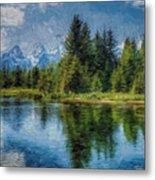 Wyoming Tetons Spruce Mountain Lake. Oil Painting . Metal Print