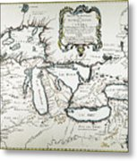 Great Lakes Map, 1755 Metal Print