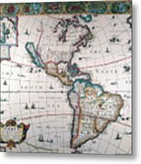 New World Map, 1616 Metal Print