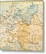 Austrian Empire Map, 1795 Metal Print