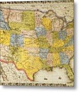 United States Map, 1866 Metal Print