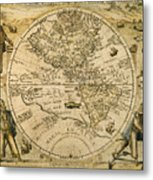 W. Hemisphere Map, 1596 Metal Print