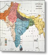 India: Map, 19th Century Metal Print
