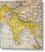 Asia Map, 19th Century Metal Print