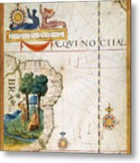 Brazil: Map And Native Indians Metal Print