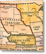 Kansas-nebraska Map, 1854 Metal Print