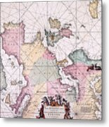 Map: European Coasts, 1715 Metal Print