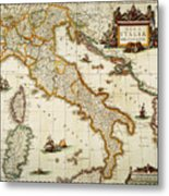 Map Of Italy, 1631 Metal Print