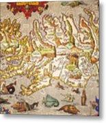 Iceland: Map, 1595 Metal Print
