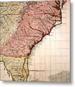 Colonial America Map, 1733 Metal Print
