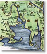 New England Map 1677 Metal Print