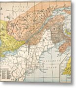Map: Eastern Canada Metal Print